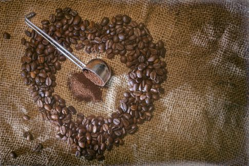 How to make strong coffee without a coffee maker, coffee beans in the shape of a heart