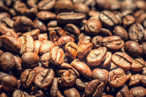 Oily coffee beans, light roast coffee beans