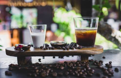 What is cold brew coffee, milk and cold brew coffee on a small table