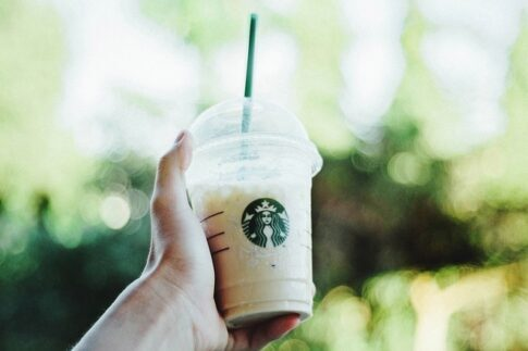 How to order iced coffee at Starbucks, a hand holding a regular cup of Starbucks iced coffee