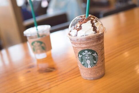 How to order iced coffee at Starbucks, two cups of flavored iced coffee