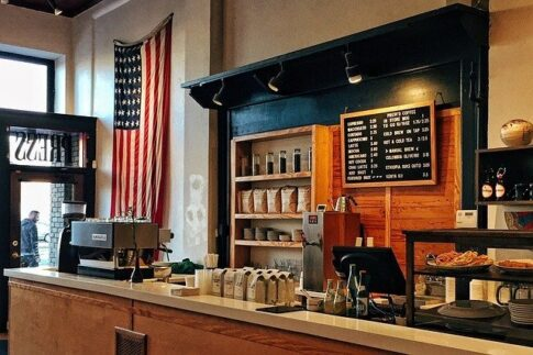How much do coffee shop owners make, coffee shop with the American flag